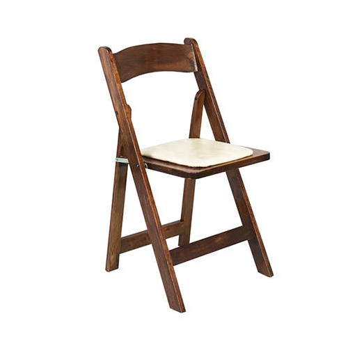 Beau Fruitwood Folding Chair. Dark Wooden Folding Chair