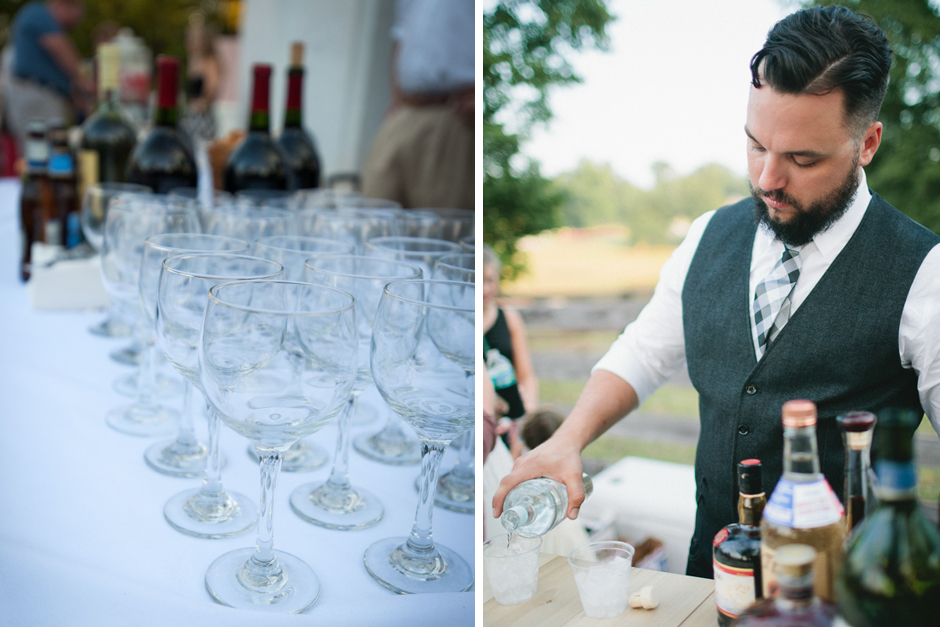 Oconee Events - Glassware and stemware for Bar Setup at Taylor Grady House
