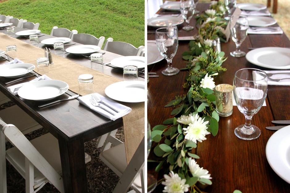 Farm table rental in atlanta athens lake oconee georgia table