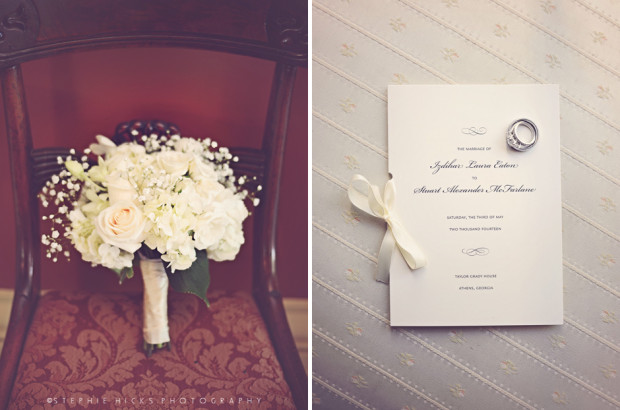 Cream White Bridal Bouquet - Elegant Wedding Program Ideas - Taylor Grady House Athens, GA