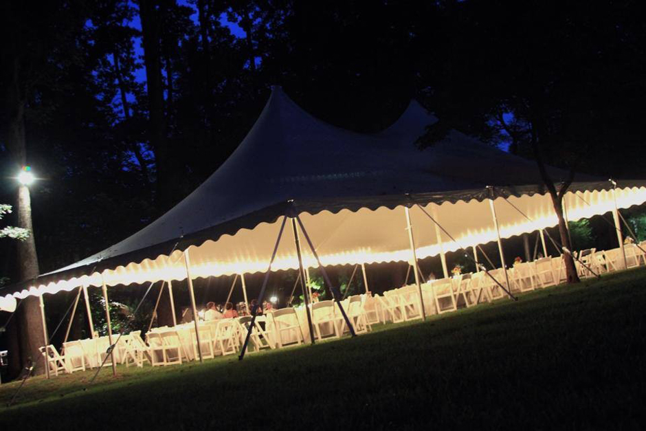Oconee Events - Pole Tent with String Lights at John Oliver Michael House Bogart GA