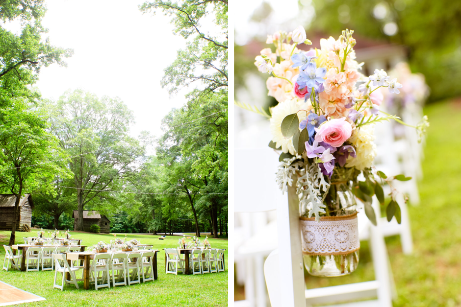 Spring Wedding - Historic Southern Farmhouse - Farm Tables