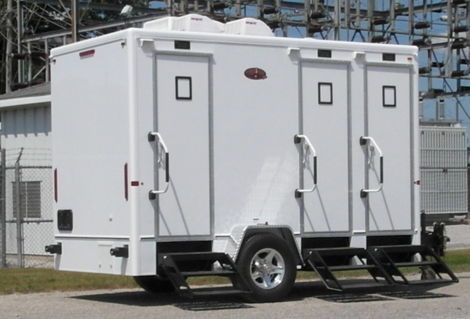 White Portable Restroom Trailer
