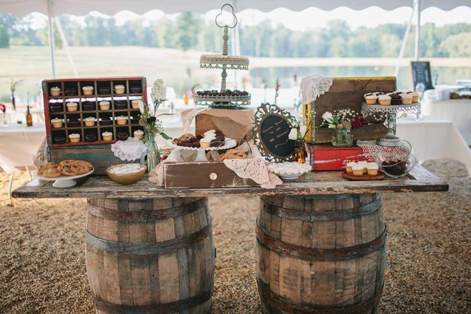 Oconee Events   Whiskey Barrel Table Dessert Station   Vintage Rentals In  Atlanta, GA