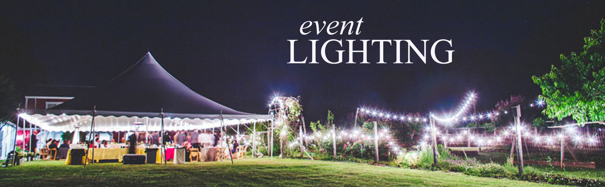 outdoor wedding reception with lots of cafe string lights