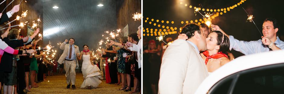 bride and groom sparkler exit barn wedding