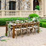 Oconee Events - Farm Tables + XBack Chairs in Weddings Unveiled Magazine