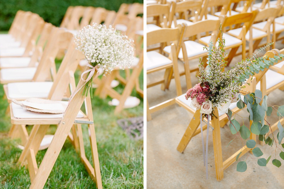 Natural Wooden Folding Chairs At Wedding Ceremony With Aisle Markers