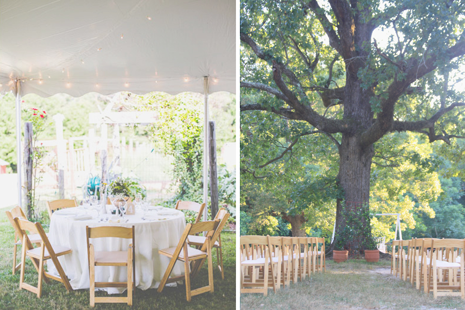 Wedding ceremony under a tree, outdoor wedding reception under a tent.