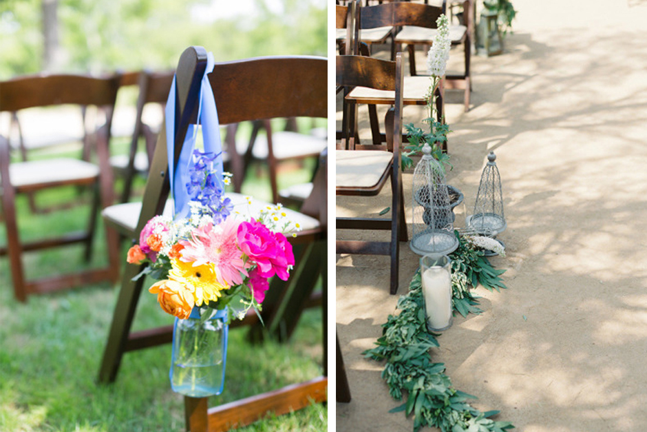 Aisle Marker Ideas - mason jars and bird cages