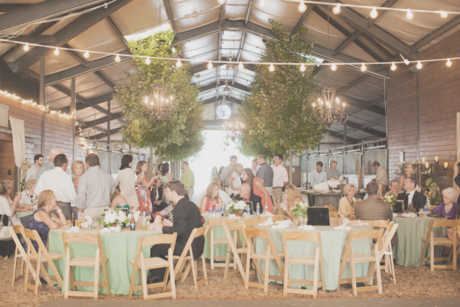 Sage green, ivory and chocolate barn wedding reception palette