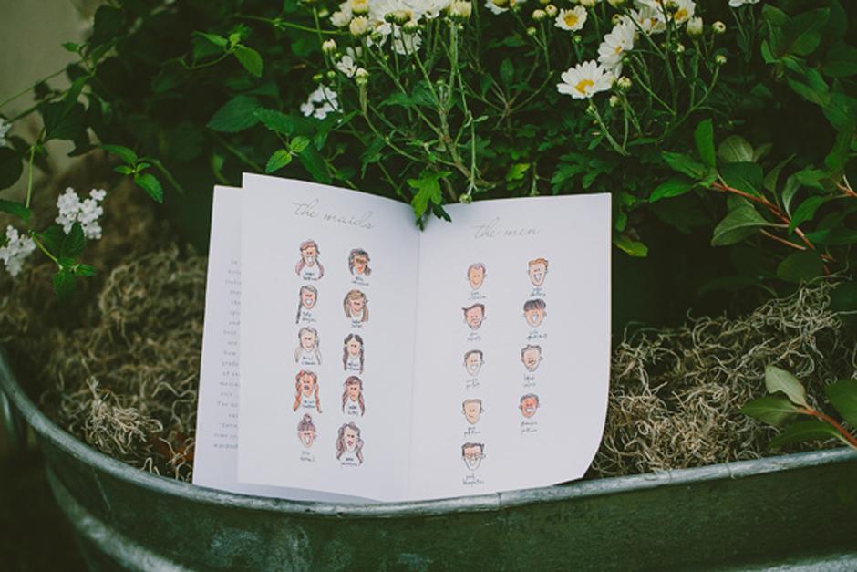 Hand Drawn Wedding Programs
