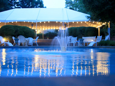 Large Wedding Tent with string lighting