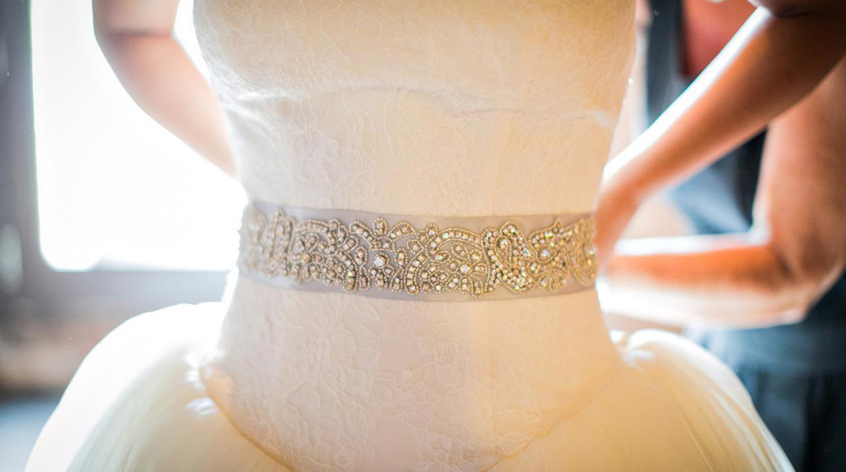 Luxury Wedding Gown Beading Detail - Luxury Wedding Chair Rentals - Oconee Events