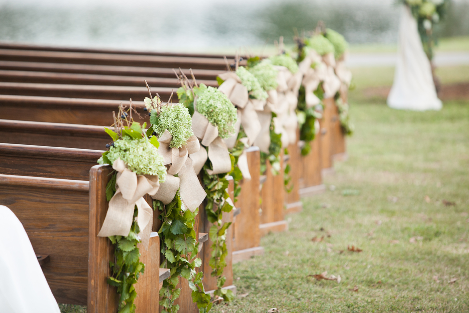 Oconee Events - Antique Pews for Wedding in Madison, GA