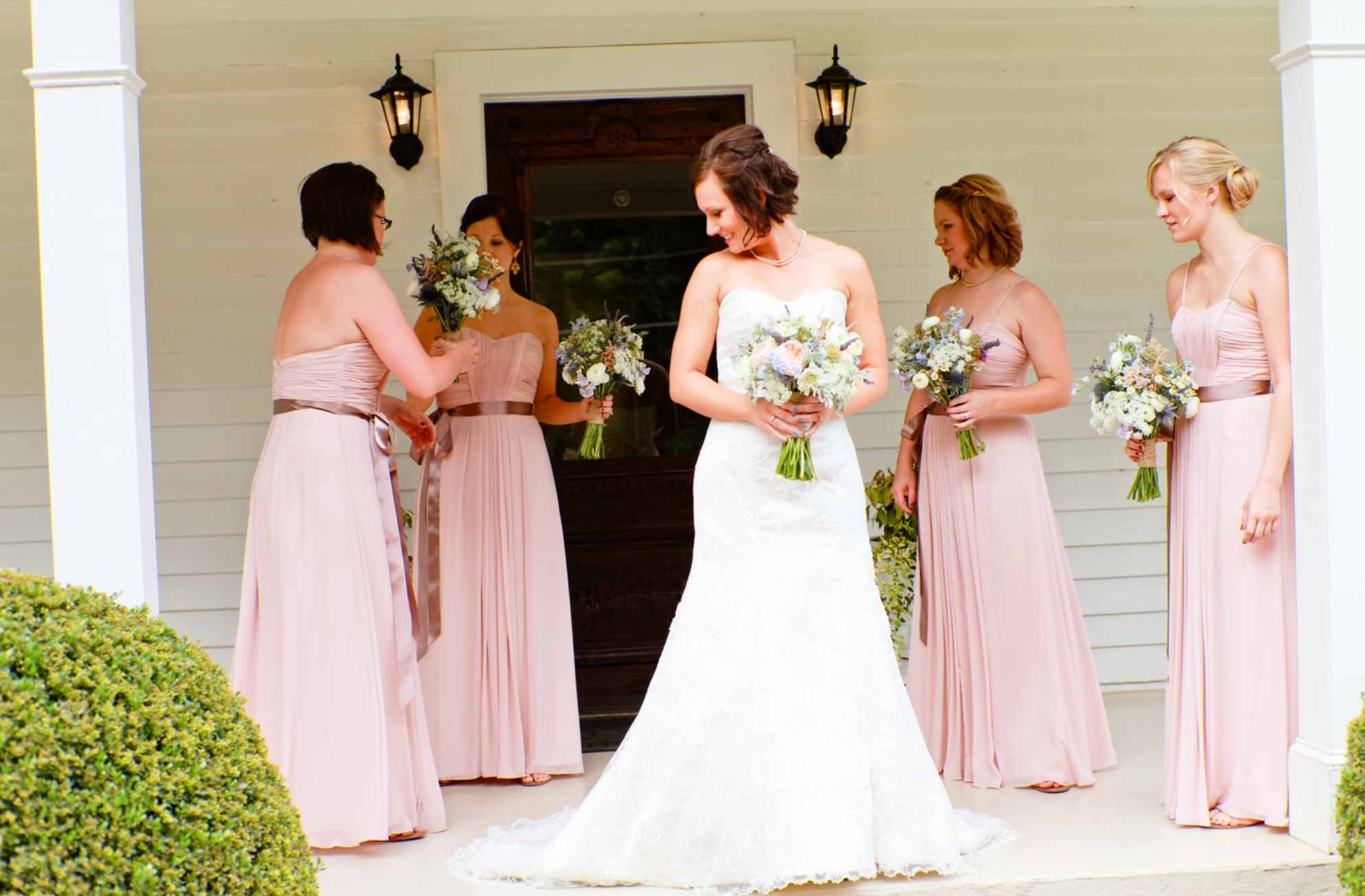 Blush Pink Bridesmaids Dresses - Bridal Bouquet Ideas - Oconee Events