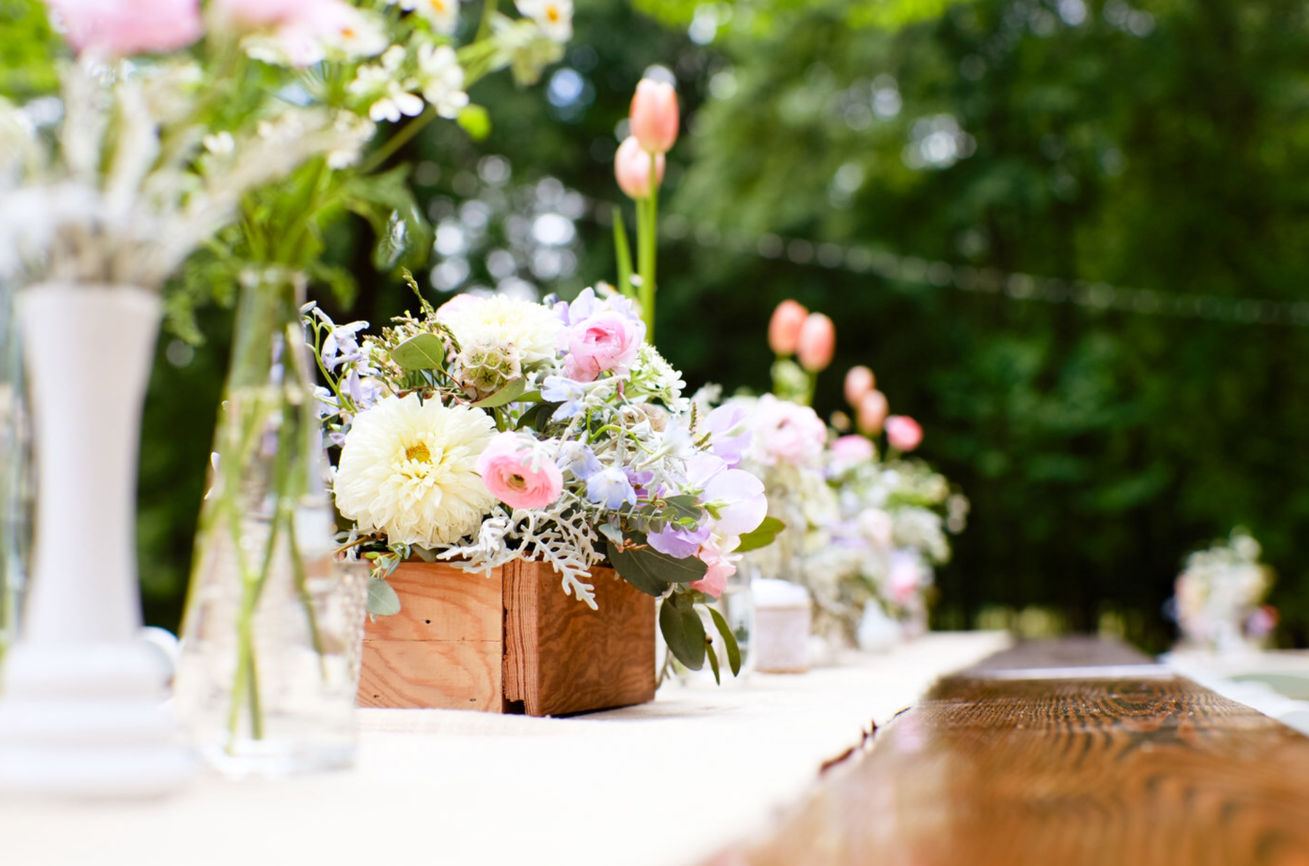 Southern Spring Wedding Reception - Centerpiece Ideas - Farmhouse Tables