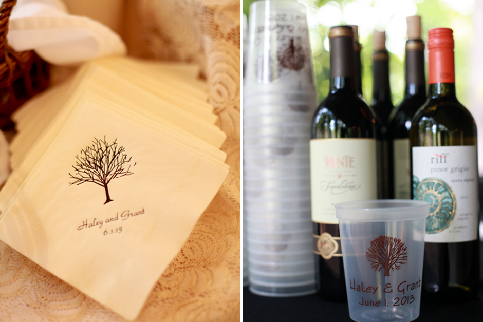 Southern Farmhouse Wedding - Monogrammed Favors - Reception Wine
