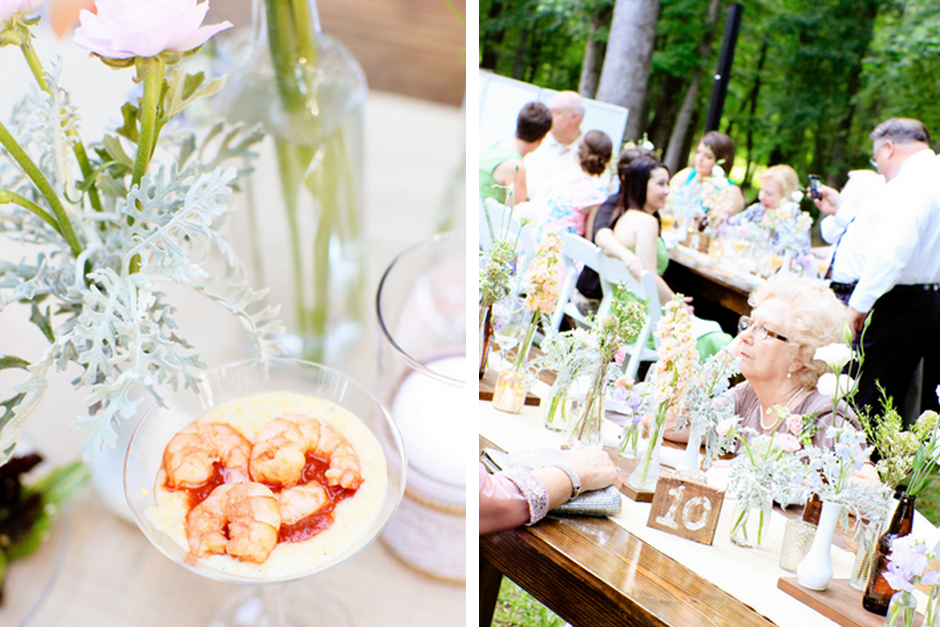 Southern Farmhouse Wedding - Spring Outdoor Reception - Shrimp Cocktail - Farm Tables
