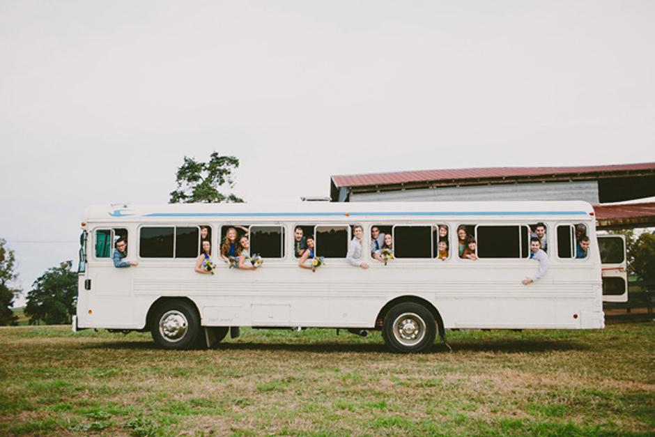 Wedding Party on Vintage Bus - Eclectic Wedding Ideas - Athens GA