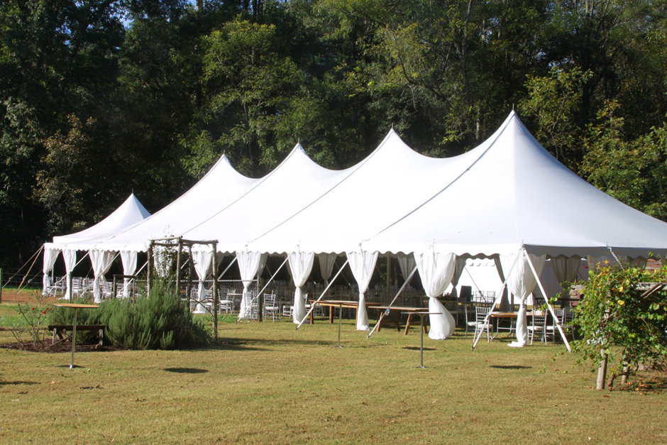 Large wedding tent at farm in Georgia