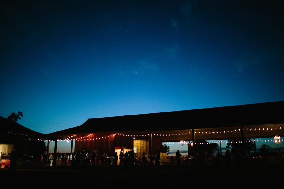 Barn wedding with string lights