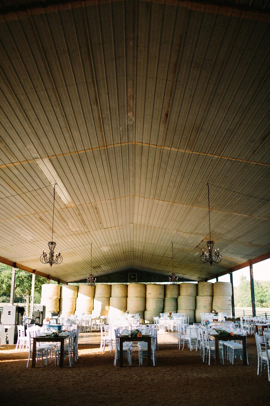 Silver Chiavari Chairs and Farm Tables at Georgia Barn Wedding