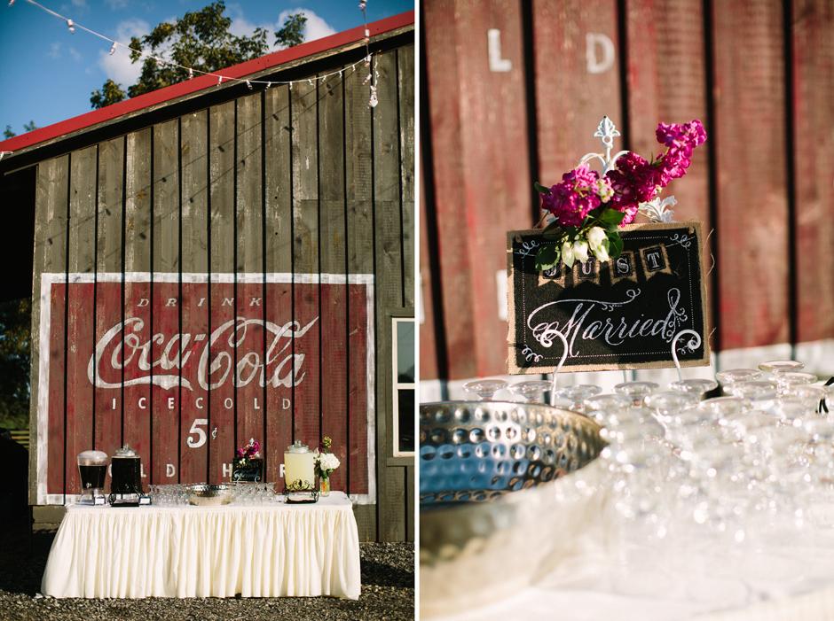 Drink station at a barn wedding