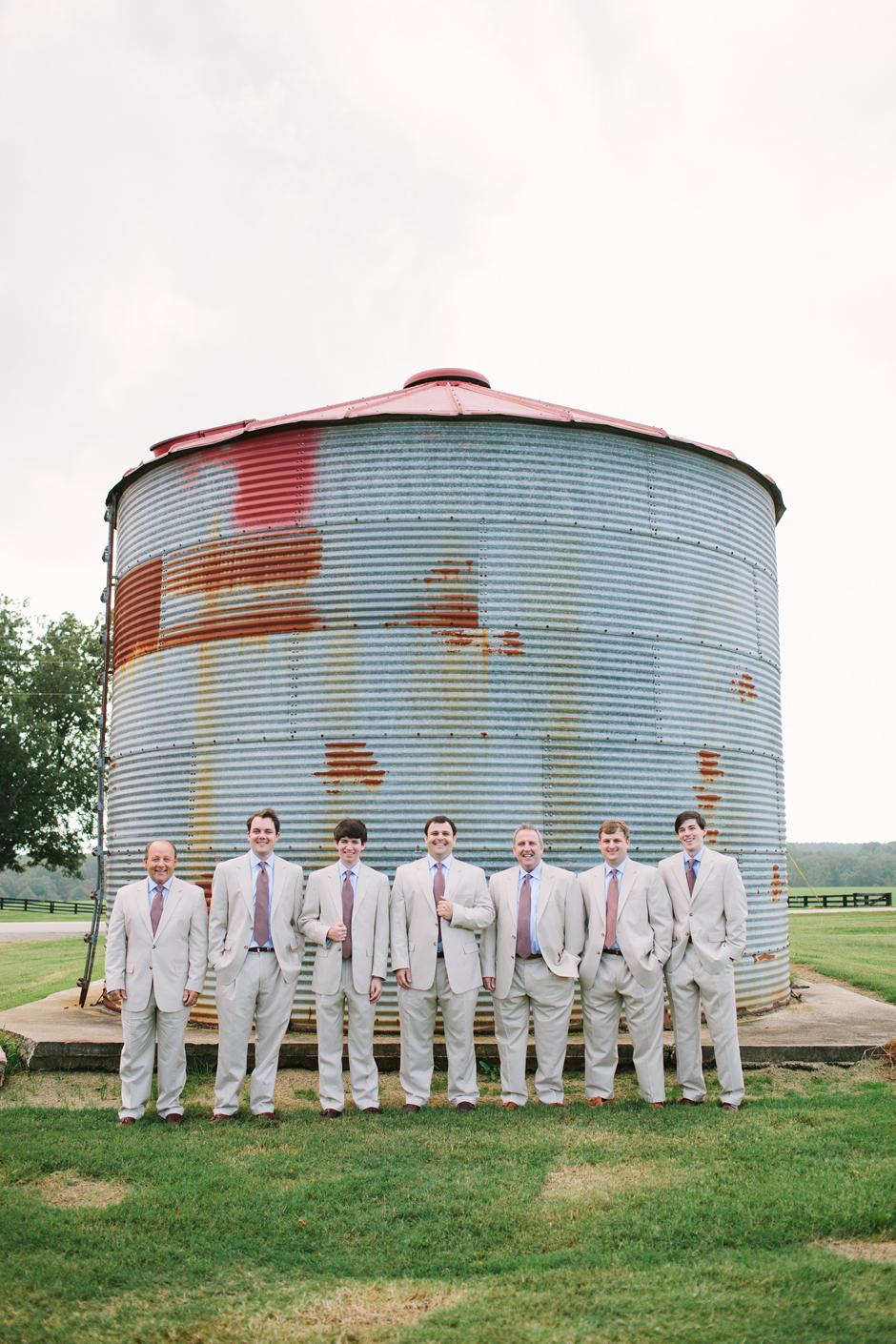 Light tan tuxedos for groomsmen