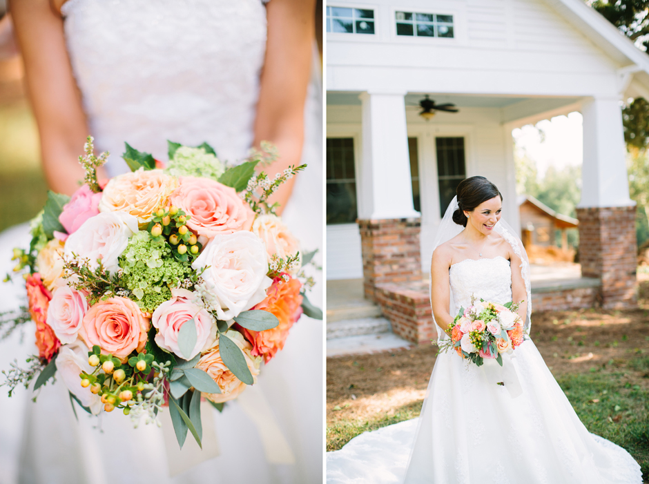 Bridal bouquets with peach, light pink, coral, cream.