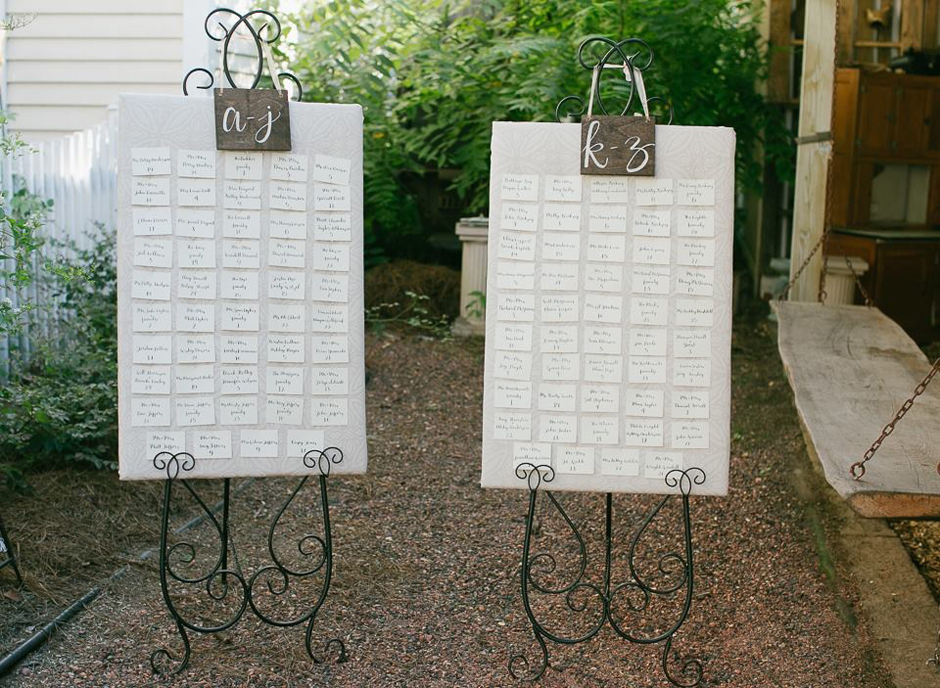 Cute alphabetical seating charts for fall wedding reception in Georgia.