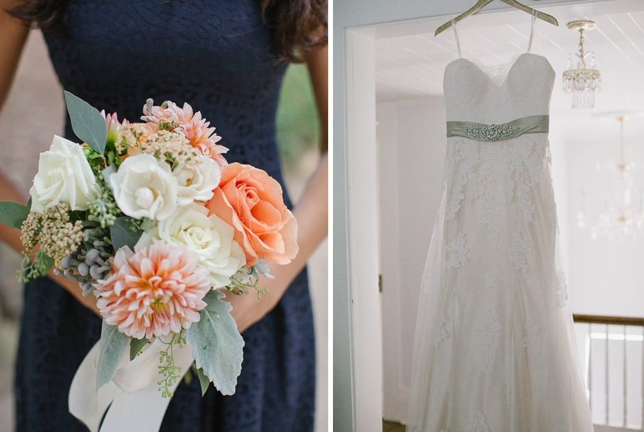 Bridesmaid in navy dress holding  peach and cream bouquet.