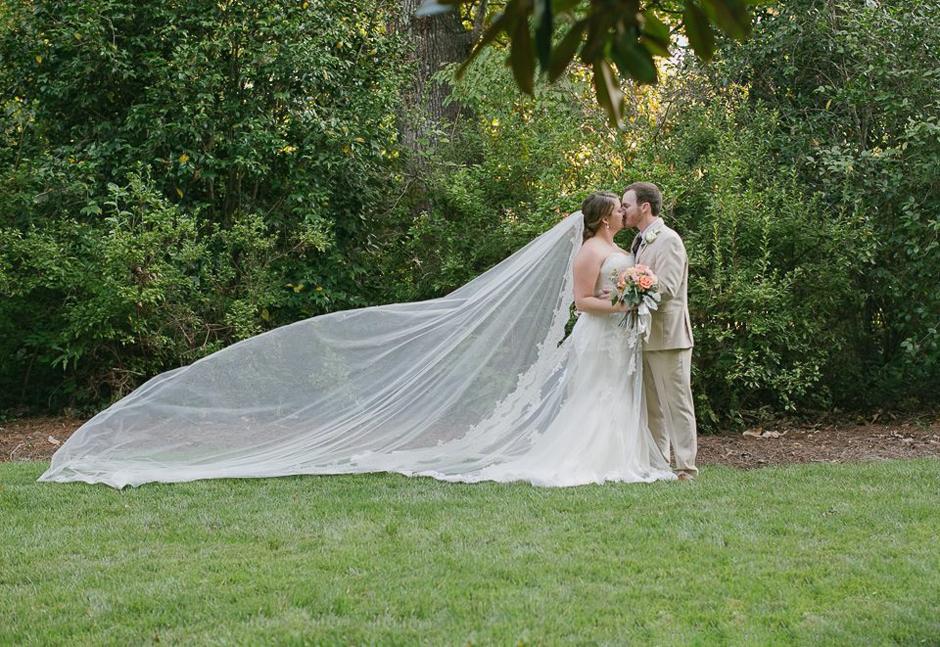 Very long wedding veil.