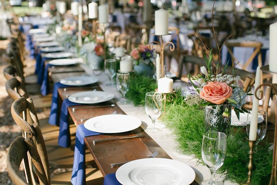 Farm table wedding ceremony - navy, peach and cream.