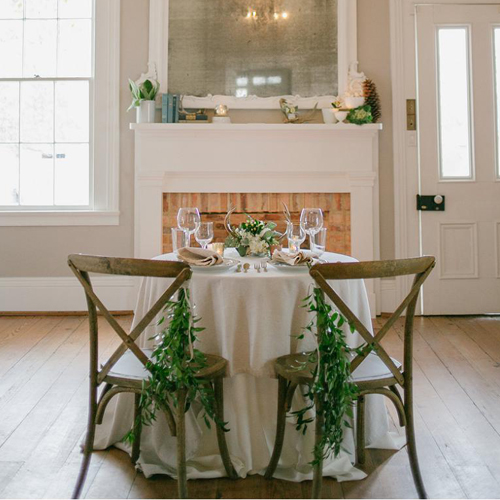 rustic sweetheart table for wedding