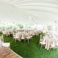 white wedding tent liner