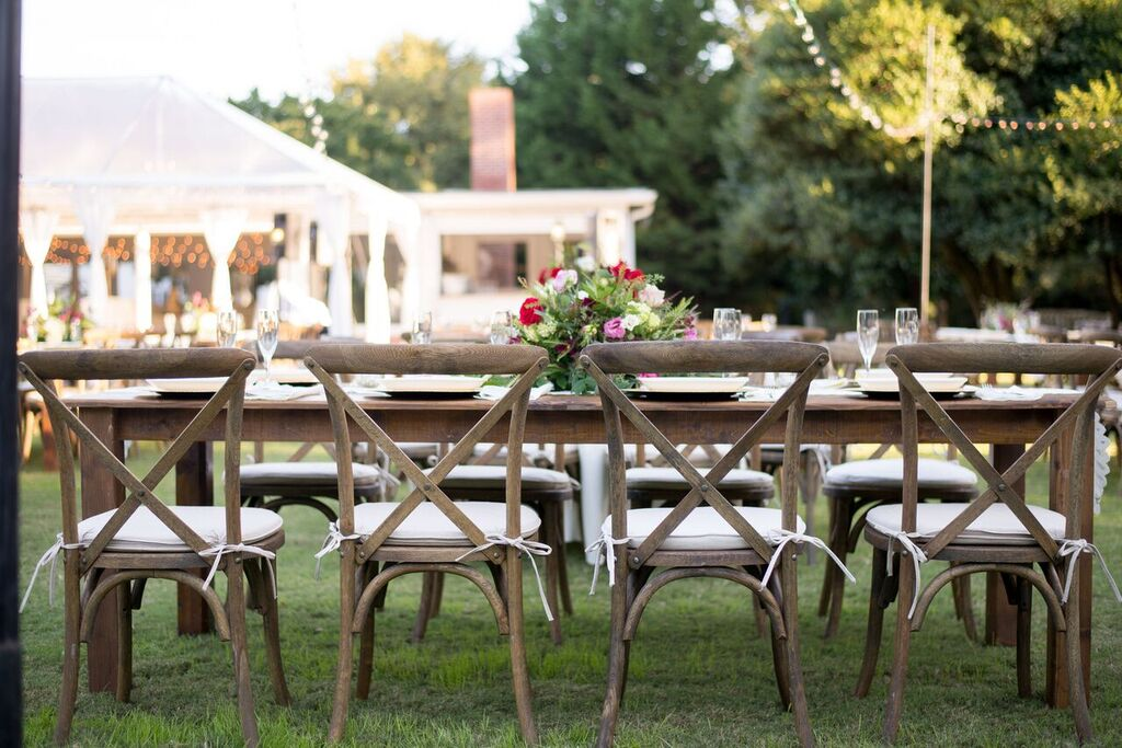Oconee Events crossback chairs-- Events:Weddings