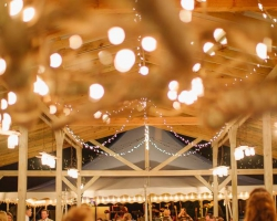 Oconee Events | Custom Wedding Reception Lighting in Greensboro, GA | Cafe String Light Rental Athens